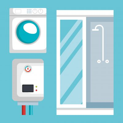 plumbing line set icons vector illustration design